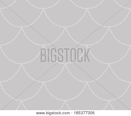 Grey Decorative Seamless Background Patterns with Hanging Beads. Vector Illustration. Pattern Swatch
