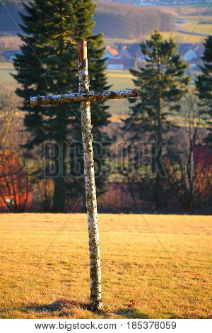 High Saturation Shot Of Birch Cross In Sunlight