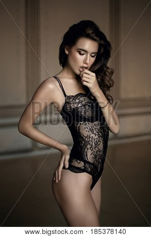 Beautiful Sexy Woman In Expensive Lace Lingerie. Portrait Of Hot Girl In Luxury Lingerie