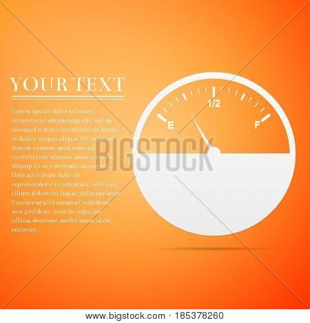 Fuel gauge flat icon on orange background. Vector Illustration