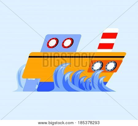 vector illustration of ship flat skew icon
