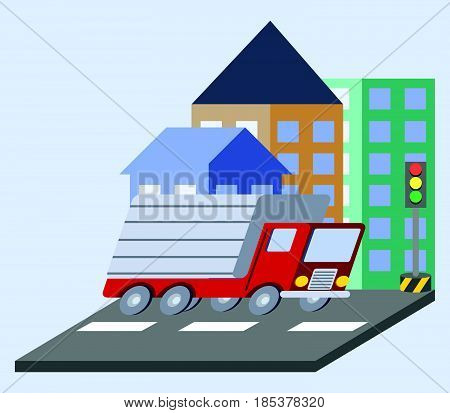 Vector illustration of cargo truck flat skew icon