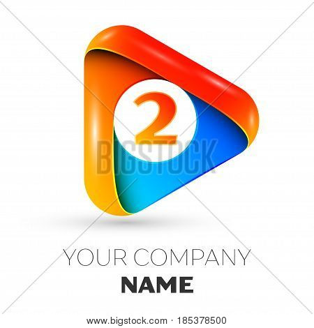 Number two vector logo symbol in the colorful triangle on grey background. Vector template for your design