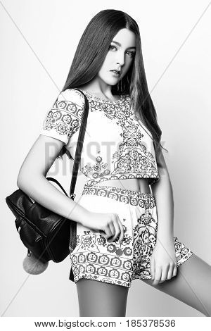 Cute Girl Teenage With Long Hair Posing Studio Nature Portrait. Black And White