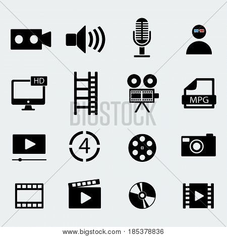 Set of sixteen cinema video icons . Film tape, video folder. Vector design