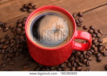 Coffee Beans. Good Morning. Roasted Coffee Beans Background Close Up. Coffee Beans Pile From Top Wit