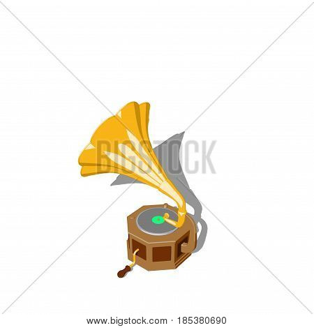 Gramophone.Isolated on white background. 3D rendering illustration Cartoon style.