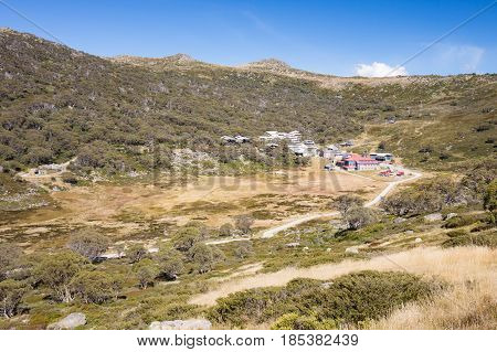 Charlotte Pass ski resort during the summer break on a clear sunny day near Perisher Valley, New South Wales, Australia