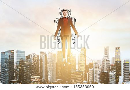 Business Advantage. Businessman in sketch astronaut costume hovering over down town on sunset.