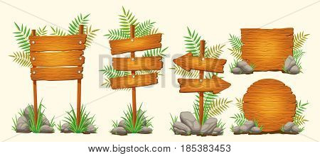 Set of vector cartoon illustrations of wooden signs of various forms standing on the grass and stones. Elements of design for games