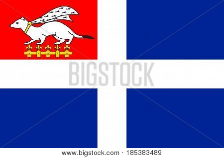 Flag of Saint-Malo is a walled port city in Brittany in northwestern France on the English Channel. Vector illustration