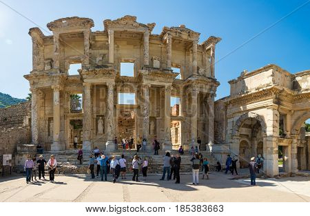 Ephesus, Turkey - April 13 : Ruins Of The Library Of Celsus In Ephesus On April 13, 2015. Ephesus Co
