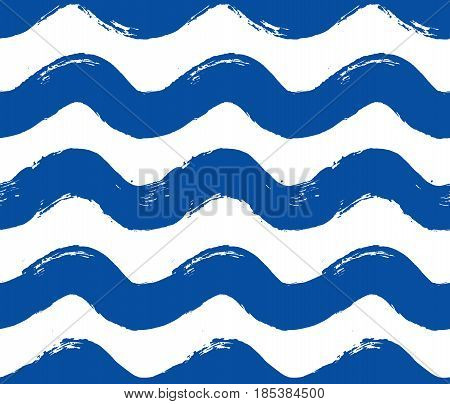 Painted wave pattern. Seamless curvy stripe background. Blue white hand drawn brush strokes graphic print. Sketchy vector. Grunge design. For wallpaper, furniture fabric, fashion textile.