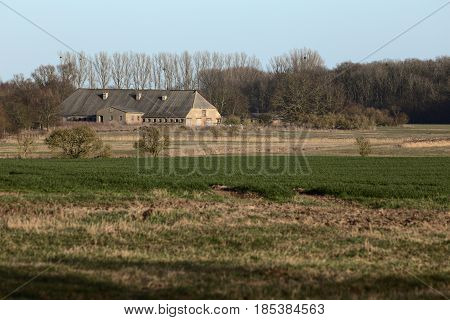 View Over Fields And Storage Building In Rural Mecklenburg-vorpommern