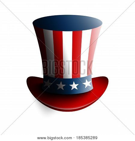 Uncle Sam's hat. Symbol of freedom and liberty. Isolated on white background. Stock vector