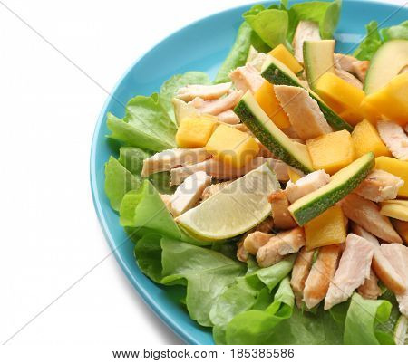 Plate with chicken salad on white background
