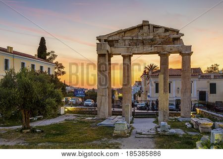 ATHENS, GREECE - MAY 2, 2017: Remains of Roman Agora in the old town of Athens, Greece on May 02 2017.