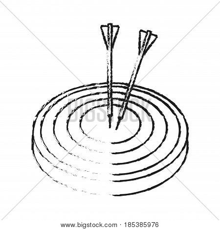 blurred silhouette image top view target with arrow vector illustration