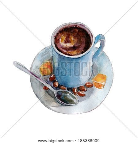 The coffee cup with coffee beans and spoon on white background watercolor illustration in hand-drawn style.