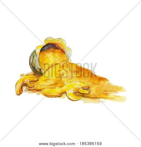The national spice turmeric on white background watercolor illustration in hand-drawn style.