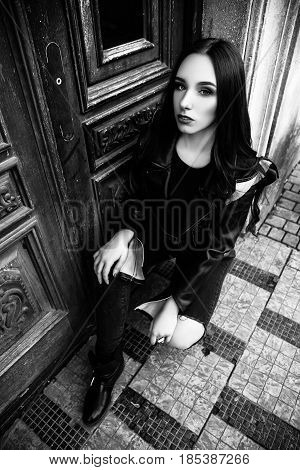 Gorgeous Fashionable Sexy Young Brunette Woman Street Portraits. Black And White