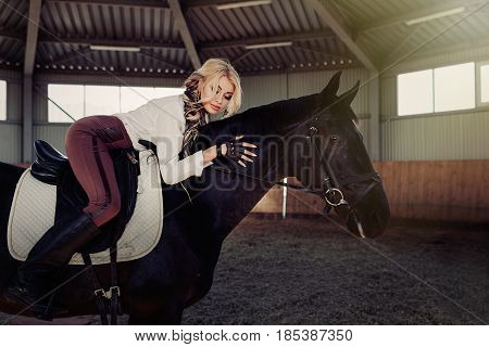 Beautiful elegant young blonde girl lieson a her black horse dressing uniform competition white blouse shirt and brown pants. Indoor portraite in riding hall. Hugg with her horse friend
