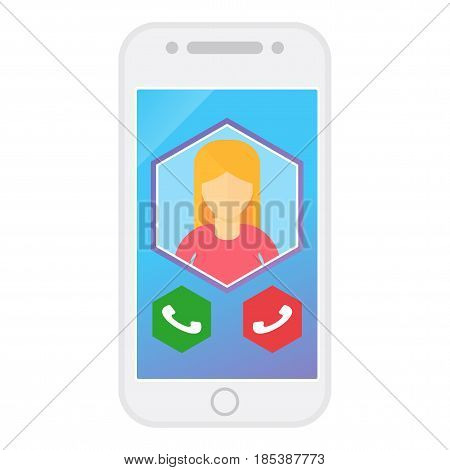 Modern blue smartphone with the image of a man. Flat vector cartoon illustration. Objects isolated on a white background.