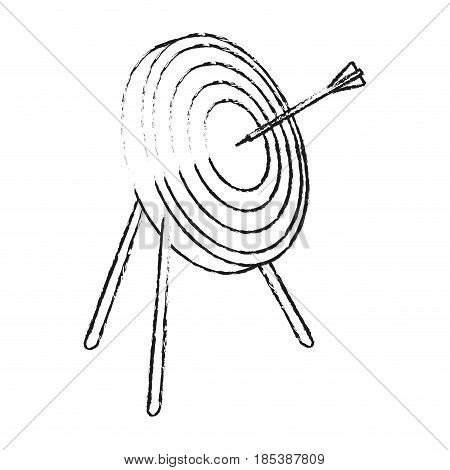 blurred silhouette image side view target in tripod with arrow vector illustration