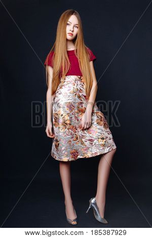 Cute Girl Teenage With Long Hair Posing Studio Nature Portrait.