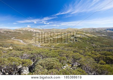 The majestic view towards Mount Kosciuszko from Charlotte Pass lookout on a clear autumn day in New South Wales, Australia