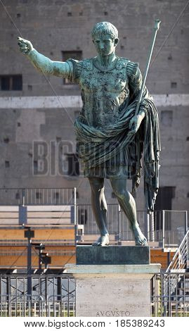 ROME, ITALY - SEPTEMBER 04: Bronze statue of Emperor Augustus on via dei Fori Imperiali, Forum Romanum, Rome, Italy  on September 04, 2016.