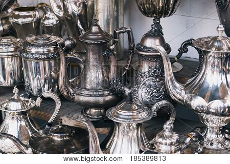 Silver ware old vintage very expensive dirty background