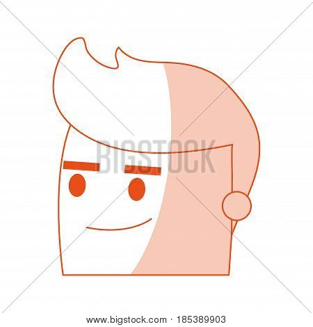 red silhouette image side view face cartoon man with picardy expression vector illustration