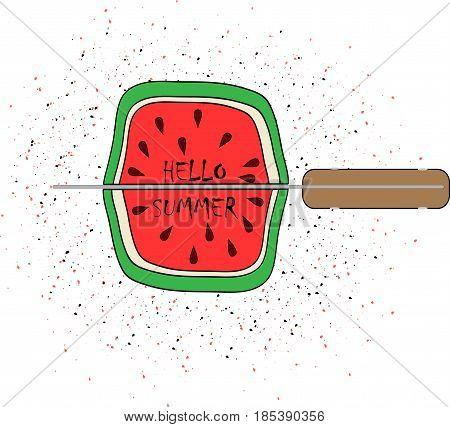vector illustration watermelon hello summer art cute