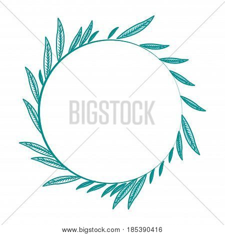 blue silhouette image decorative crown of elongated leaves in circular shape vector illustration