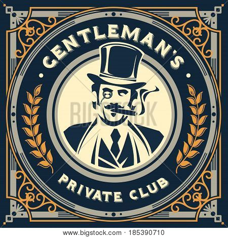 vintage gentleman emblem, label, signage and sticker