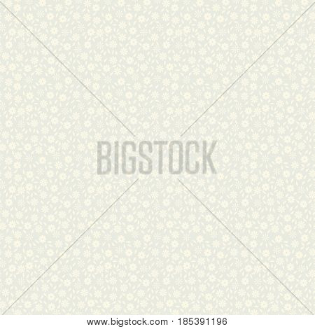 Simple delicate seamless pattern with small flowers and leaves. Vector illustration for print on textile fabric wallpapers papers. Millefleurs liberty style. Ditsy vintage ornament. Ecru color