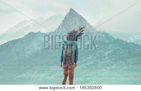 Double exposure image of traveler young woman with backpack and mountain.
