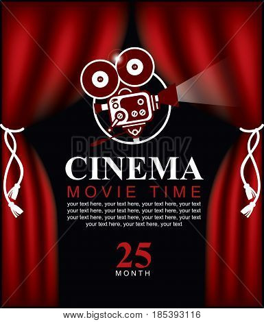 Vector movie time poster with cinema Red Curtains and projector lights. Movie background with text place. Can used for banner poster web page background