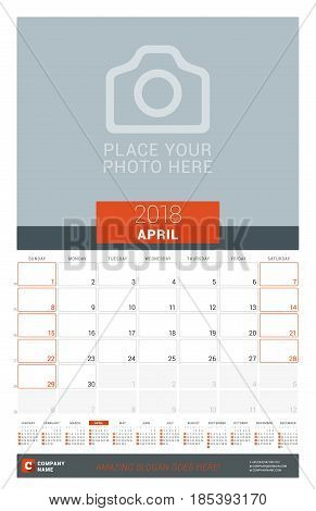 April 2018. Wall Monthly Calendar Planner For 2018 Year. Vector Design Print Template With Place For