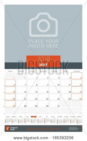 May 2018. Wall Monthly Calendar Planner For 2018 Year. Vector Design Print Template With Place For P