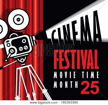 Vector movie time poster with cinema Red Curtains and old fashioned movie camera. Movie background with words cinema festival. Can used for banner poster web page background