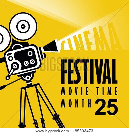 Vector cinema festival poster with old fashioned movie camera. Movie background with words movie time. Can used for banner poster web page background