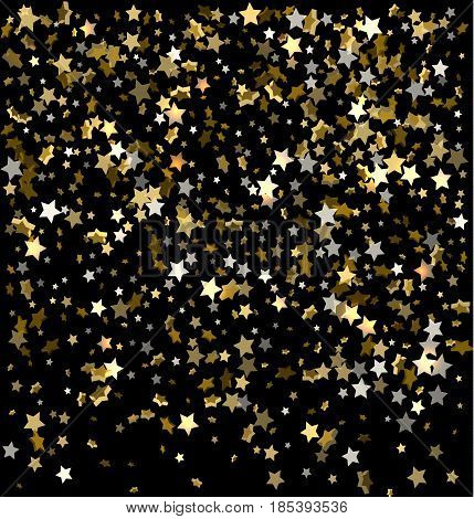 Gold Sparkles On A Black Background. Gold Background With Sparkles. Gold Background For Card, Vip, E