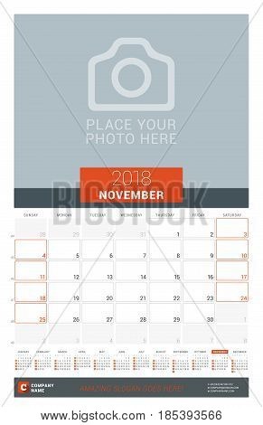 November 2018. Wall Monthly Calendar Planner For 2018 Year. Vector Design Print Template With Place
