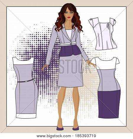 A collection of clothes for girls. Color purple violet white.