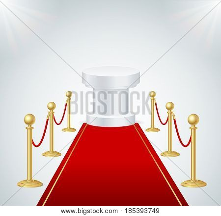 Red Event Carpet, Round Podium and Gold Rope Barrier Element of Important Ceremonies and Exposition. Vector illustration