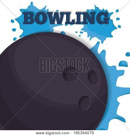 bowling ball icon over blue paint splashes and white background. vector illustration