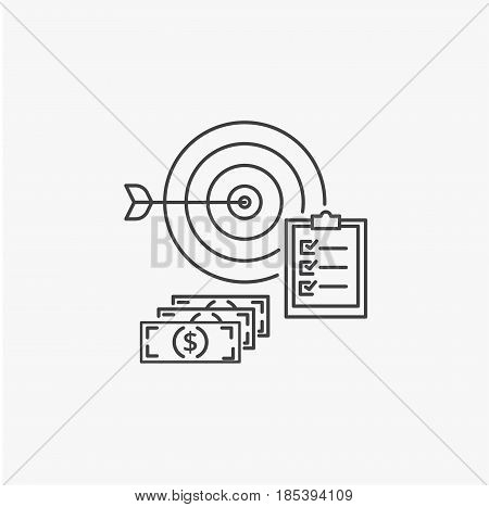 Business success vector line icon. Achievement of goals, fulfillment of tasks and profit making concept.