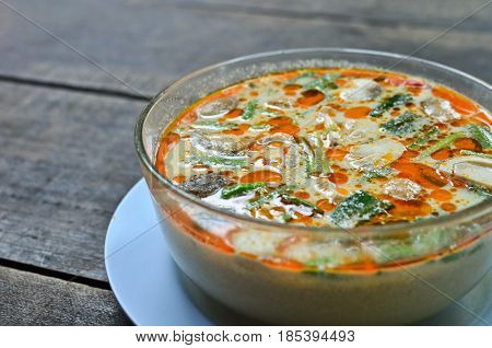 Bowl of spicy Thai Tom Yum soup
